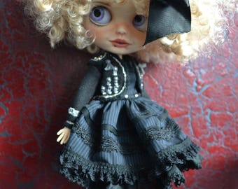 Handmade cotton dress + Jacket and boots for Blythe and Pullip outfit  (on request)