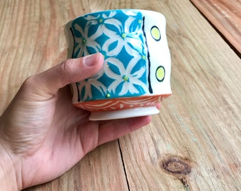 Turquoise floral tumbler