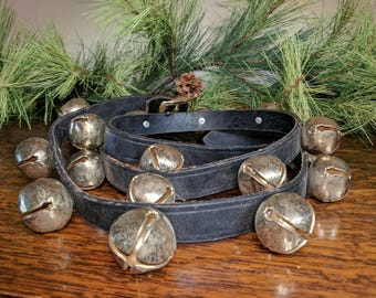 Brass Sleigh Bells on Black English Bridle Leather