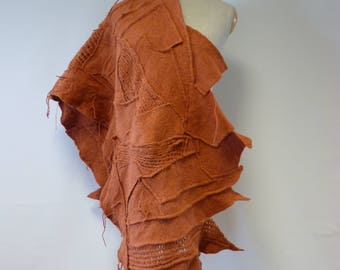 Handmade orange felted shawl. Perfect for gift.