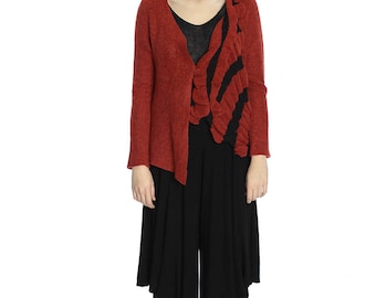 The hot price. Artsy warm red cardigan, M size. Only one sample.