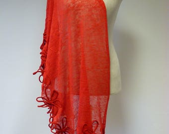 Artsy red linen shawl with cotton flowers. Perfect for gift.