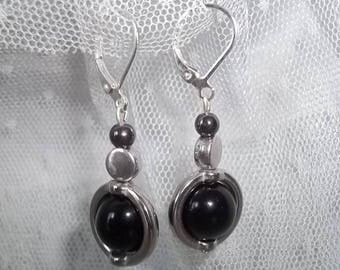 Pendants made of black glass bead earrings