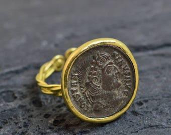 Genuine ancient roman coin. 18K gold ,handmade.