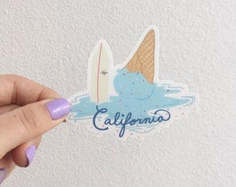 California surfboard ice cream sticker by Cat Caper