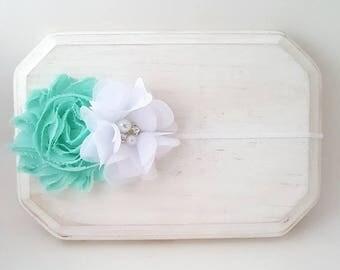 Seafoam and White Flower Girl Headband - Newborn Headband - Aqua Baby Headband - White Headband - Baby Girl Headband - Toddler Headband