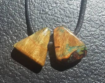 Wooden Necklace Pendant (left, pointed triangle edges)-Stabilized Burl