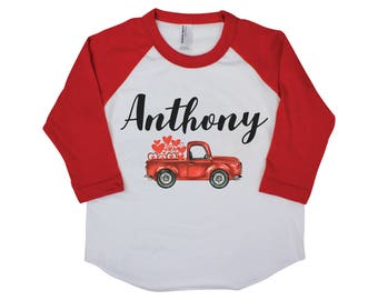Boy Valentine Shirt Onesie Red Raglan Truck Shirt Heart Shirt Valentine's Day Boy Shirt Boy Baby Onesie Boy Bodysuit Boy Raglan