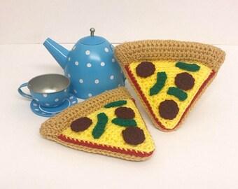 Play Food Crochet Pizza Slice, Gift, Amigurumi