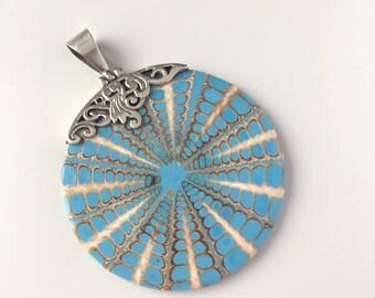Massive silver pendant blue shell
