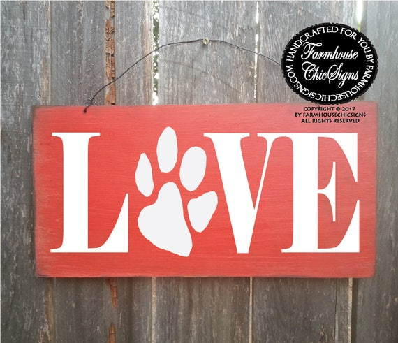 love sign, dog sign, love paw print, dog gift ideas, dog gift for owner, love dog paw print, paw print sign, love decor, dog decor