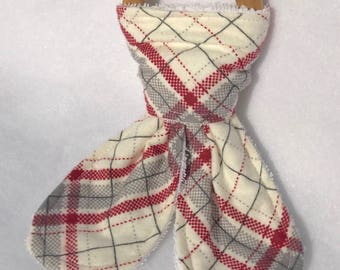 Red and Cream Plaid Teething Ring