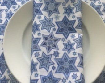 SUMMER SALE 20% OFF:  Star of David Table Runner and Matching Napkins