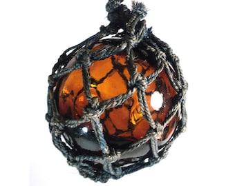 French Brown Orange Glass Fishing Float, Amber Catching Light Ball, Vintage Blue Fishing Buoy Net Macrame