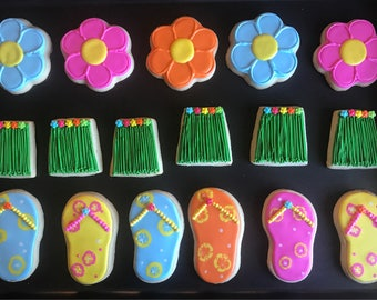 12 ALOHA LUAU PARTY inspired flower cookies - luau hawaiian party -new year - summer -beach party -luau - tropical fower - moana - hibiscus