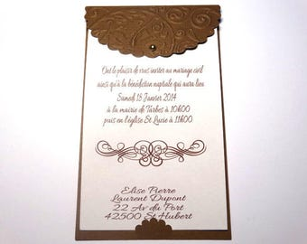 Wedding - themed pouch embroidered invitation