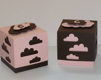Box lozenge - themed little cloud pink and Brown