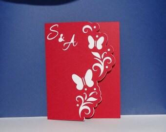 Original Butterfly border wedding invitation