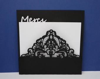 Black baroque lace thank you card