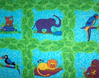 Tissu coton  Panneau de 14 animaux de la jungle pour enfants