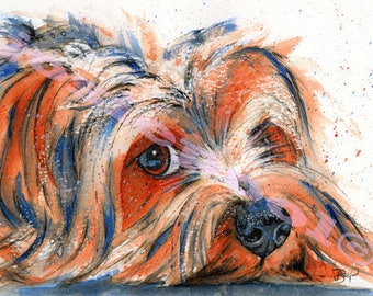 YORKSHIRE TERRIER PRINT Painting of Original Watercolour Dog Picture Art Gift Pup Puppy by Josie P