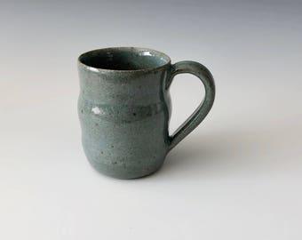 Modern handmade pottery coffee cup coffee mug wheel thrown steel blue celadon glaze Haight Pottery Company
