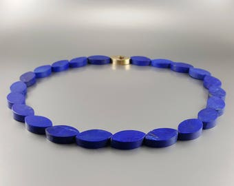 Lapis lazuli Collier/necklace royal blue - natural genuine Lapis Lazuli -blue and gold jewelry-Statement Necklace-gift Christmas-special cut