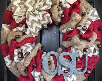 ohio state wreath,  football wreath, fall wreath