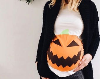Pumpkin Bump Halloween Maternity BAMBOO T-Shirt - Mamagama Pregnancy tshirt - Mamagama Maternity Wear