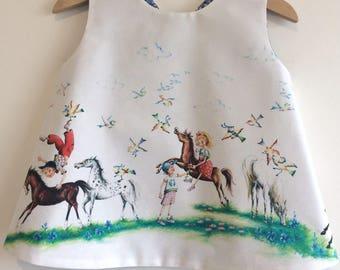 "Girls baby toddler reversible pinafore ""horseriding through daisies"" criss cross pinafore"
