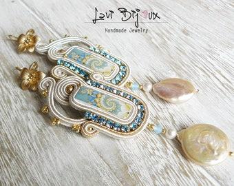 White and blue Soutache Earrings, Handmade Earrings, Hand Embroidered, Soutache Jewelry, Handmade from Italy, OOAK