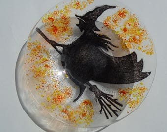 Fused Glass Halloween Witch Dish