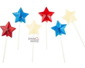 Blue Red & White Star Lollipops Patriotic Independence Day Candy (24 Pieces) by Sparko Sweets