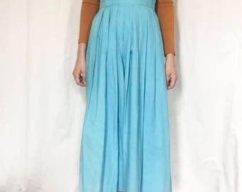 1950s Vintage High Waist Pleated Skirt in Turquoise