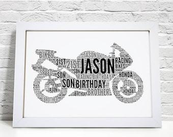 Personalised Motorbike Motorcycle Biker Word Art Gift