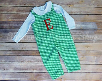 Baby Boy Monogrammed Long-all - Green Boys Longall - Fall outfit - Monogrammed Romper -Monogrammed Jon Jon - Boys Holiday outfit
