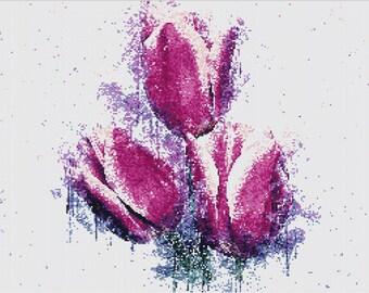 Purple Tulips Cross Stitch Pattern