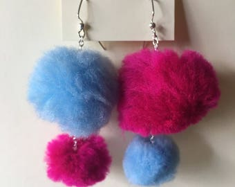 Mismatched Magenta and Blue Pom Pom Earrings