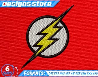 FLASH EMBROIDERY DESIGN Superhero Machine Logo Justice League Dc SuperFriends designs