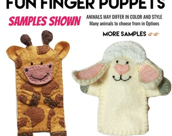 Set of 10 Felt Finger Puppets