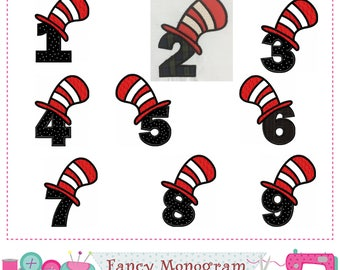 Cat hat Numbers applique,Birthday numbers applique,Cat hat,Birthday applique,Numbers design,Cat hat applique,Numbers applique.