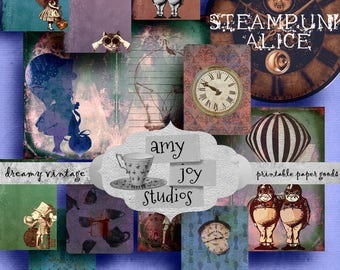 Steampunk  Alice  Digital Journal Kits  Printable Journal  Alice in Wonderland  Clip Art  Clipart   DIY journal  Junk Journal