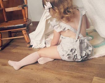 Baby girl romper, prism gray linen romper, with or without ruffles