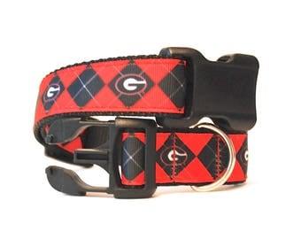 "Collegiate Football Dog Collar, Argyle Pattern Dog Collar, Red and Black Dog Collar, Bulldogs Dog Collar, 1"" thick collar breakaway collar"