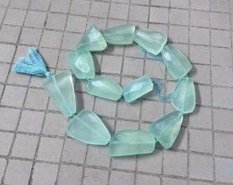 Full Strand Large Seafoam Green Chalcedony Faceted Freeform Flat Nugget Beads