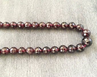 Full Strand Graduated Natural Garnet 6 - 11MM Faceted Round Beads