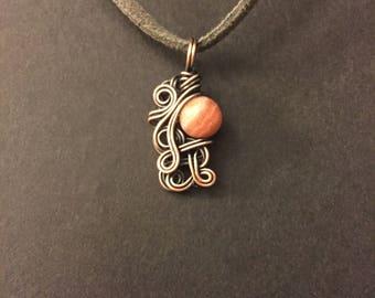 Rhodochrosite Copper Wrapped Pendant Necklace