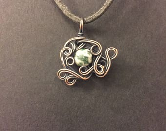 Tree Agate Copper Wrapped Pendant Necklace