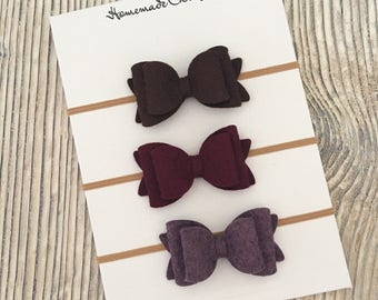 Felt bow headband, Set of felt bow headbands, Baby bows, Baby bow headband, Newborn headband, Baby girl hair, Felt bow hair clips, Fall bows