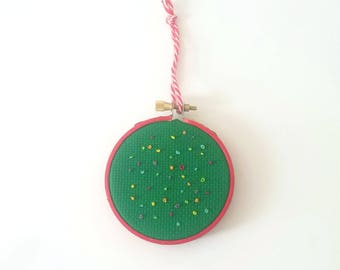 Christmas Lights Cross Stitch Ornament